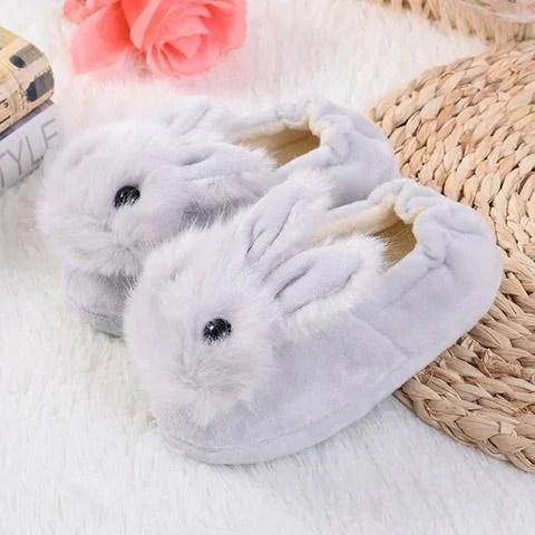 chausson lapin bébé gris