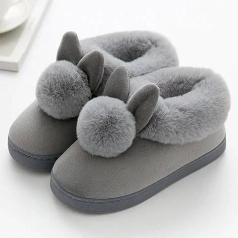 chausson lapin pompon gris