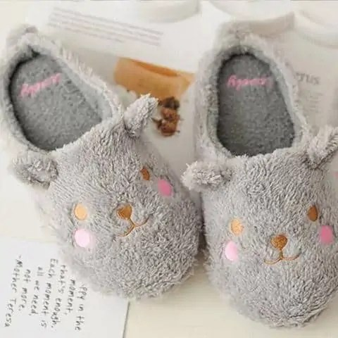 chausson ours gris couple