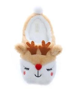 chausson de Noël femme en forme de rennes vue de dessus