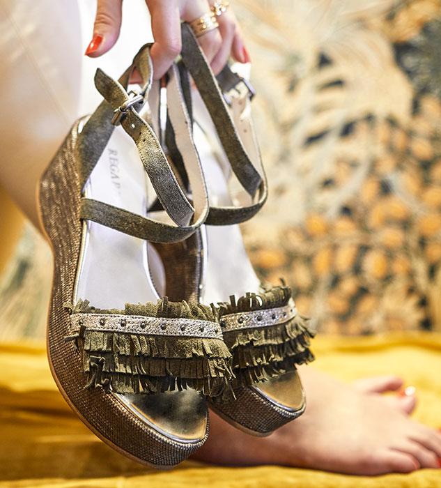 Sandales kaki à talon compensé Durtal par REGARD Chaussures