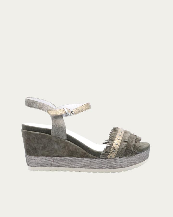 Sandale à talon compensé kaki et franges Durtal