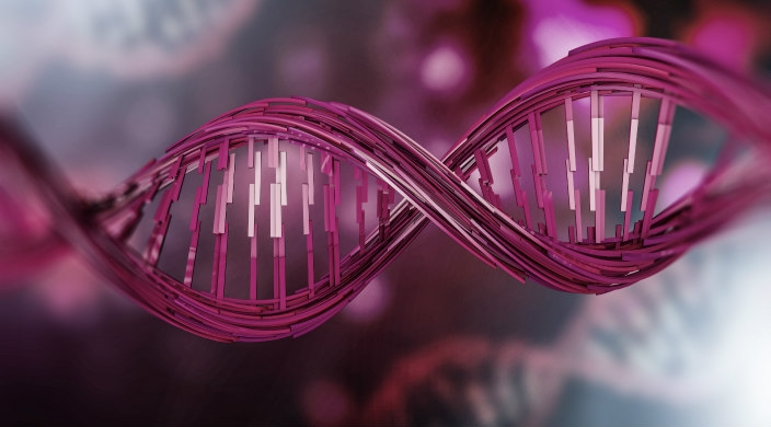 In the foreground, a digitized image of a double helix in various shades of pink and magenta