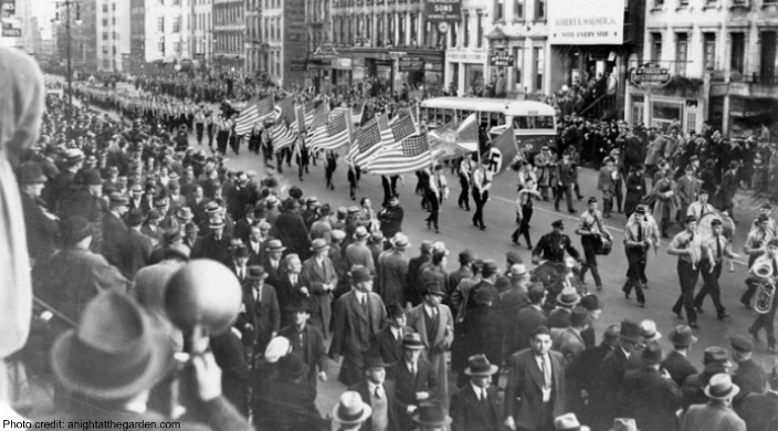 Black and white archival image of a Nazi march down East 86th Street in NYC on October 30th 1939