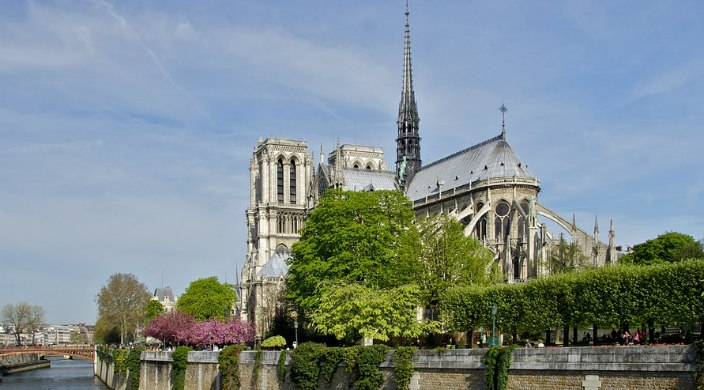 Side view of Notre Dame Cathedral as it stood before the April 2019 fire