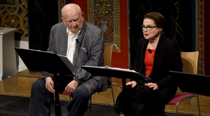 Ed Asner and Tovah Feldshuh in a scene from The Soap Myth