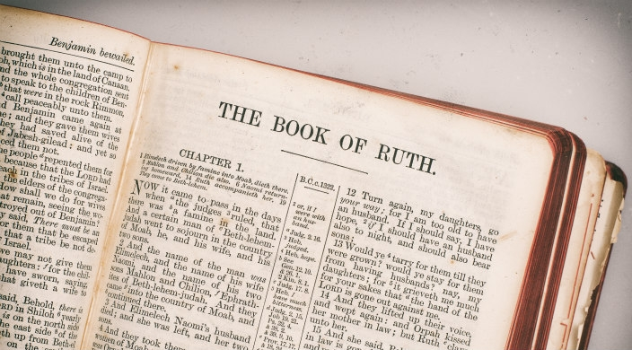Well-worn book opened to the section entitled Book of Ruth