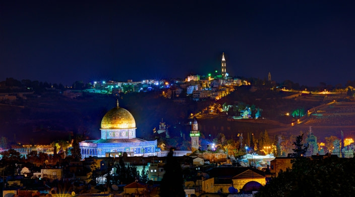 Jerusalem and the surrounding hills at night