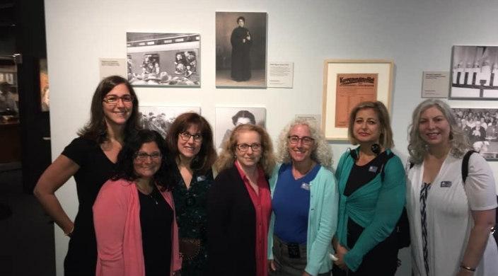 Members of the Women's Rabbinic Network at a museum exhibit about Regina Jonas