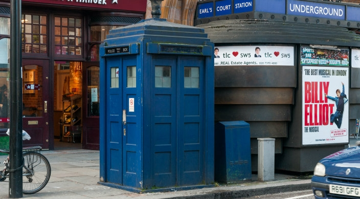 Blue police booth on a London street