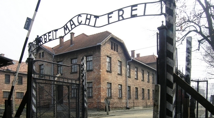 Arbeit Macht Frei sign at the entrance to the Auschwitz concentration camp