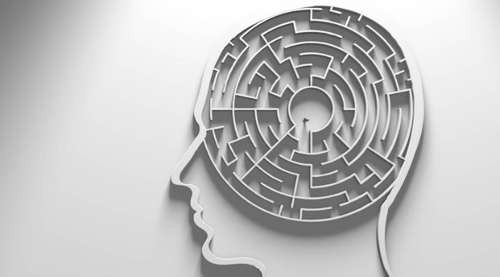 Mental health concept of a maze inside a brain