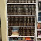 Taken in my small West Texas shul's library. Someone passed away a few years ago and donated nearly an entire collection of the Artscroll Schottenstein Hebrew/English edition Talmud books.