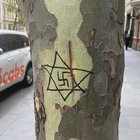 Antisemitic graffiti, including a swastika inside the Star of David, was found scrawled in several places in downtown Melbourne, Australia. Horrible!
