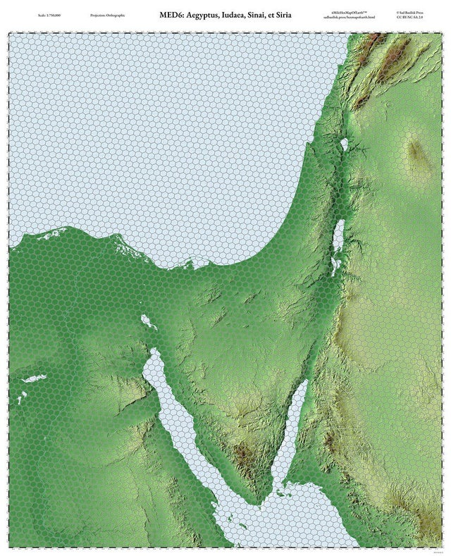 For Passover/Pasch I made a set of 6-mile hex maps of Egypt, Israel, Palestine, Sinai, and eastern Syria