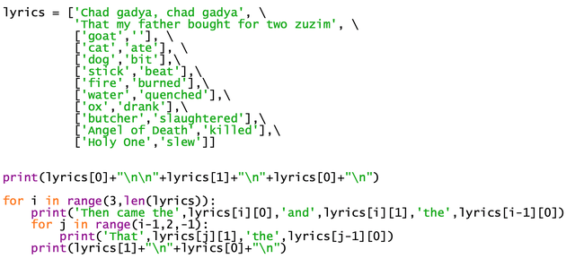 Chad Gadya written in Python