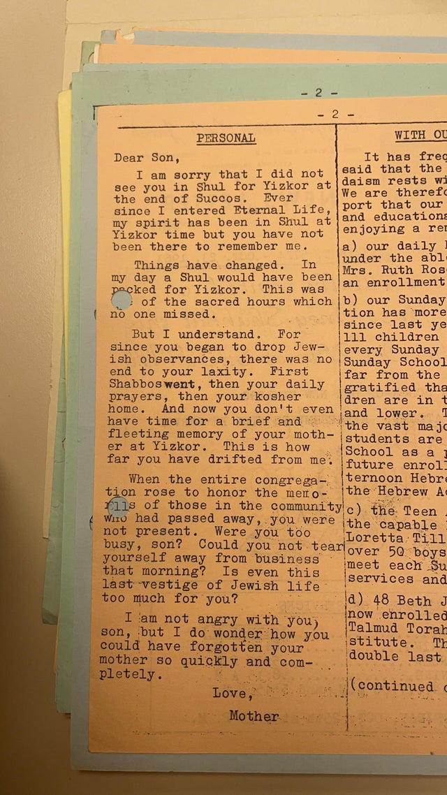 Hitting the Jewish guilt hard (Beth Jacob bulletin, 23 Oct 1963/5 Cheshvan 5724)