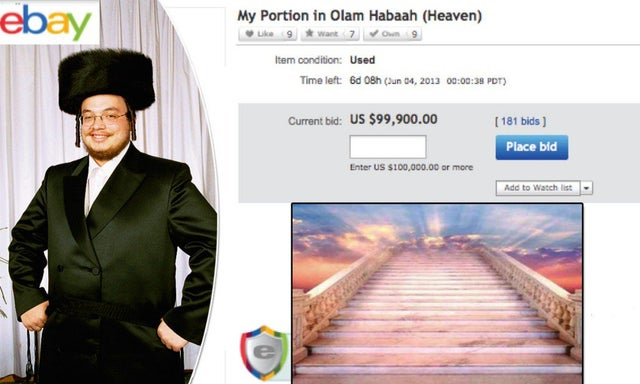Man jokingly puts his place in heaven up for sale on eBay and bids reach $100,000¿ before it gets taken down