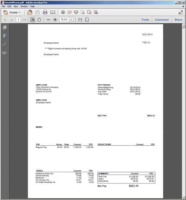 QuickBooks Print Payroll Check Stub
