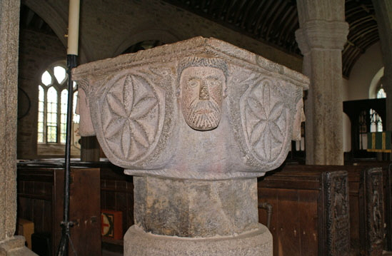 The Norman font at St Nonna's Church, Altarnun