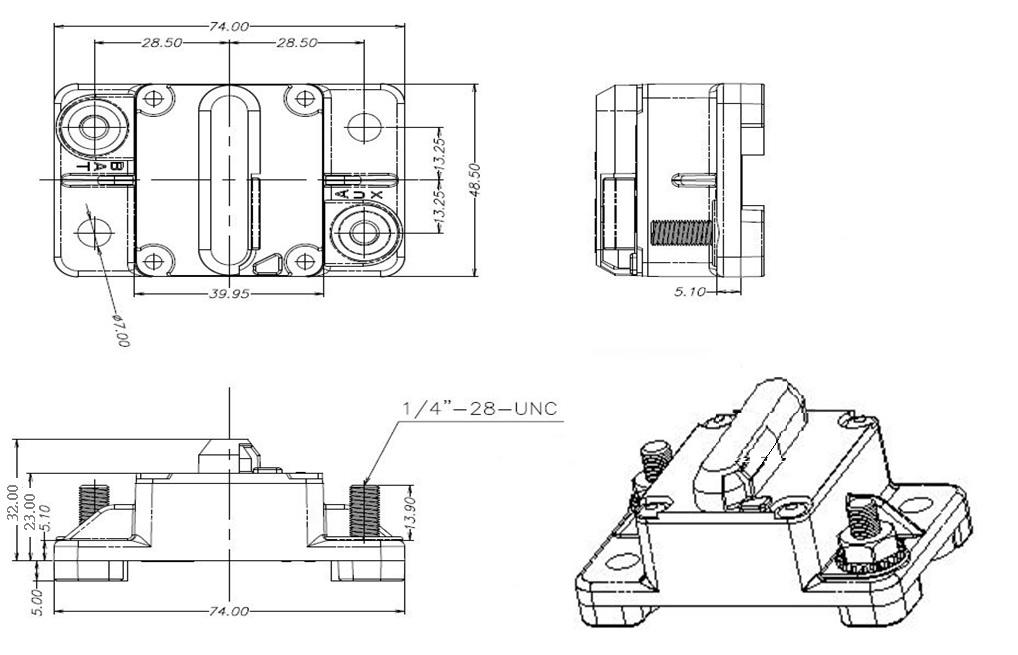 GCA-A Manual Reset High Amp Circuit Breaker-GCA-A Series