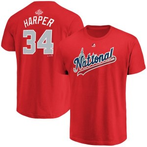 Men's National League Bryce Harper Majestic Red 2018 MLB All-Star Game Name & Number T-Shirt