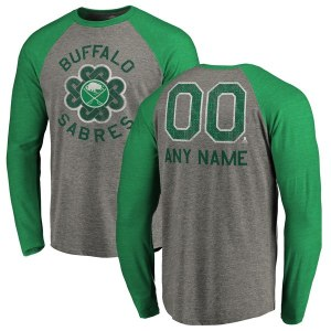 Men's Buffalo Sabres Fanatics Branded Heathered Gray Personalized St. Patrick's Day Luck Tradition Long Sleeve Tri-Blend Raglan T-Shirt