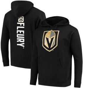 Men's Vegas Golden Knights Marc-Andre Fleury Fanatics Branded Black Backer Name & Number Pullover Hoodie