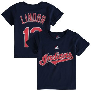 Toddler Cleveland Indians Francisco Lindor Majestic Navy Player Name and Number T-Shirt