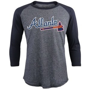 Men's Atlanta Braves Freddie Freeman Majestic Threads Navy Tri-Blend 3/4-Sleeve Raglan Name & Number T-Shirt