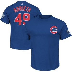 Men's Chicago Cubs Jake Arrieta Majestic Royal 2016 World Series Champions Name & Number T-Shirt