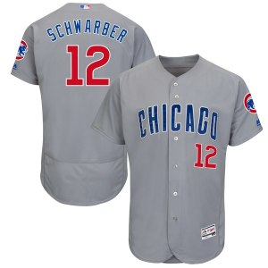 Men's Chicago Cubs Kyle Schwarber Majestic Gray Road Authentic Collection Flex Base Player Jersey