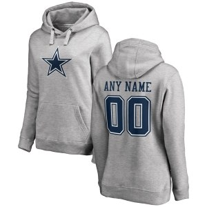 Women's Dallas Cowboys NFL Pro Line by Fanatics Branded Ash Personalized Name & Number Logo Pullover Hoodie