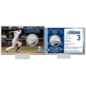 Tampa Bay Rays Evan Longoria Highland Mint Mint Player Silver Collector Coin Card