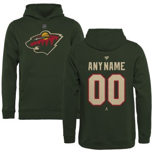 Youth Minnesota Wild Fanatics Branded Green Personalized Team Authentic Pullover Hoodie