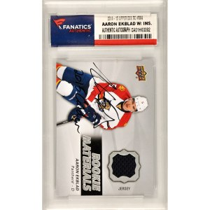 Autographed Florida Panthers Aaron Ekblad Fanatics Authentic 2014-15 Upper Deck Rookie Material #M4 Card with