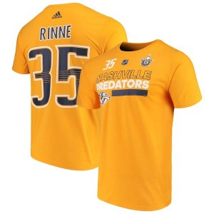 Men's Nashville Predators Pekka Rinne adidas Gold 2018 Stanley Cup Playoffs Participant Name & Number T-Shirt