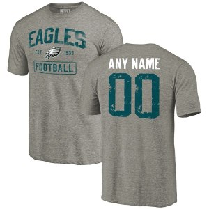 Men's Philadelphia Eagles NFL Pro Line by Fanatics Branded Gray Distressed Personalized Tri-Blend T-Shirt