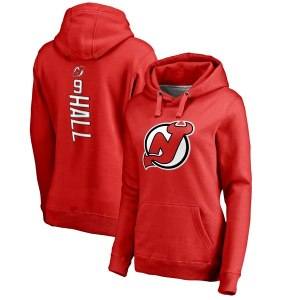 Women's New Jersey Devils Taylor Hall Fanatics Branded Red Backer Pullover Hoodie