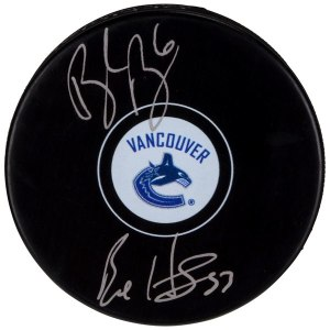 Autographed Vancouver Canucks Brock Boeser & Bo Horvat Fanatics Authentic Hockey Puck