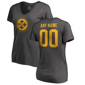 Women's Pittsburgh Steelers NFL Pro Line by Fanatics Branded Ash Personalized One Color T-Shirt