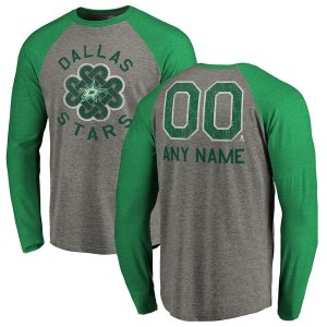 Men's Dallas Stars Fanatics Branded Heathered Gray Personalized St. Patrick's Day Luck Tradition Long Sleeve Tri-Blend Raglan T-Shirt