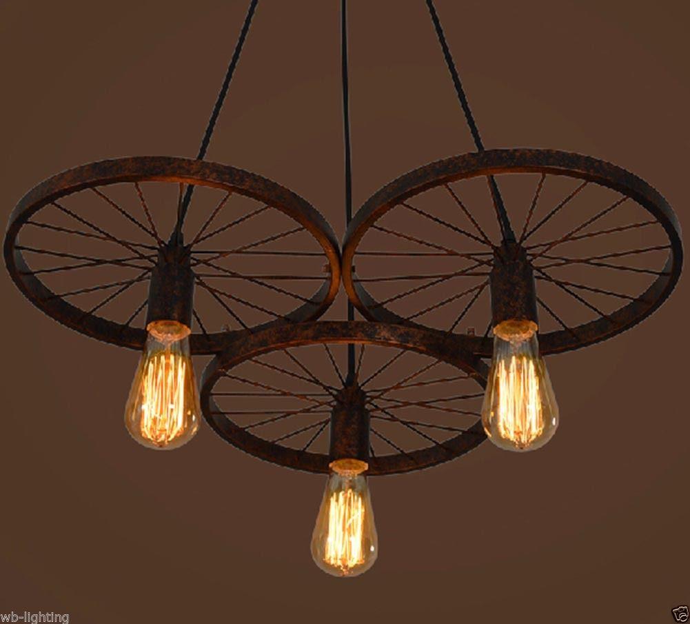 1 3 Heads Industrial Diy Bar Vintage Wheel Chandelier