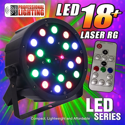 adkins pro lighting led 18 laser rg color mixing led par can w laser