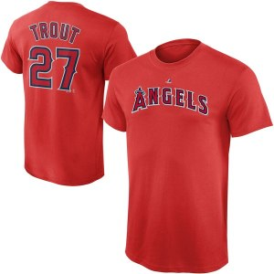 Youth Los Angeles Angels Mike Trout Majestic Red Player Name & Number T-Shirt