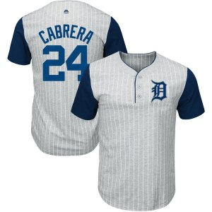 Men's Detroit Tigers Miguel Cabrera Majestic Gray/Navy From the Stretch Pinstripe Name & Number T-Shirt