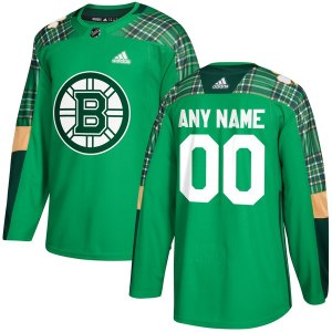 Men's Boston Bruins adidas Green St. Patrick's Day Custom Practice Jersey