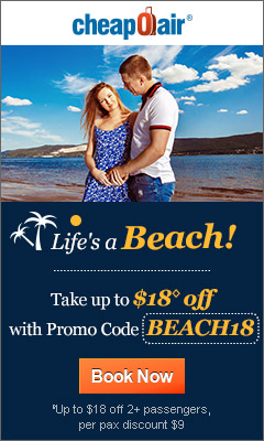 Life's a Beach!  Take up to $18◊ off with Promo Code BEACH18 Book Now!