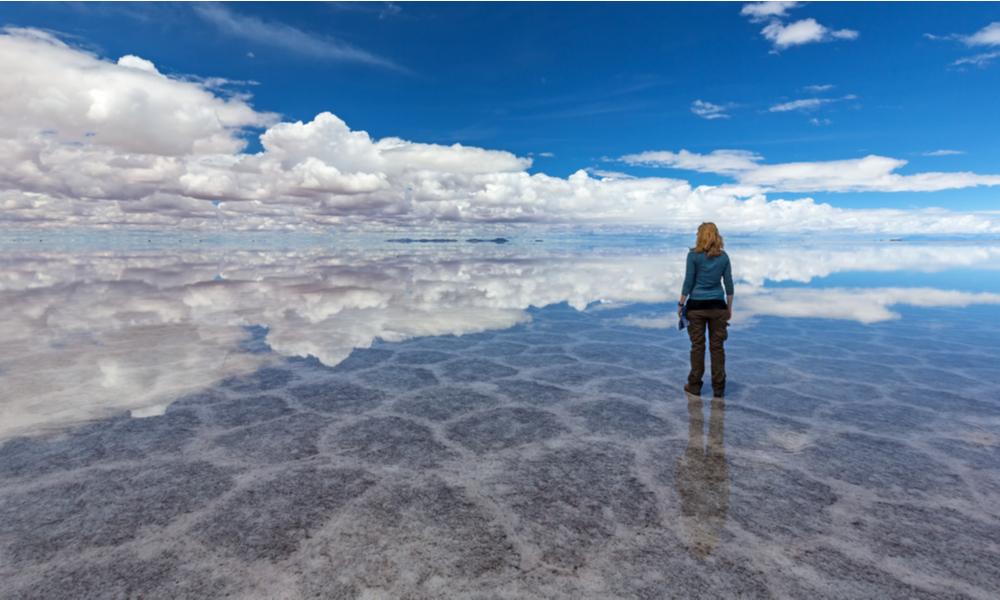 fun places to go visit in 2020: Reflection at Salt Lake Uyuni (bolivia)