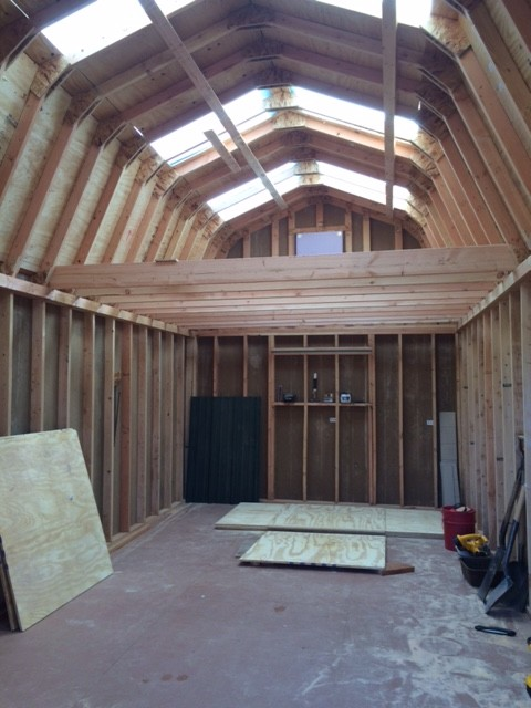 12 215 24 Barn Style Gambrel Shed Construction Photo Series